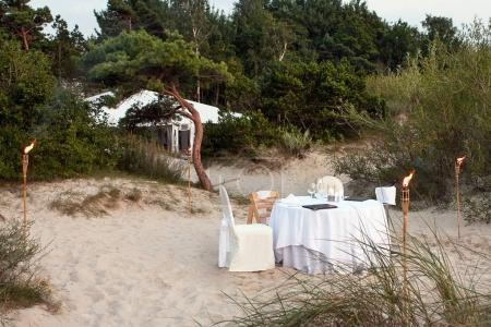 A romantic place in the sand dunes for dinner