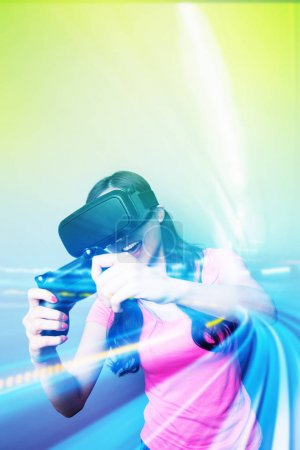 Photo for Double exposure of happy woman playing VR-headset glasses for virtual reality concept - Royalty Free Image