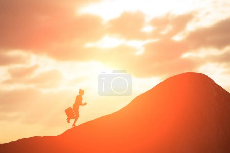 business woman running  on the mountain