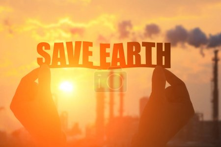 hands with  save earth words