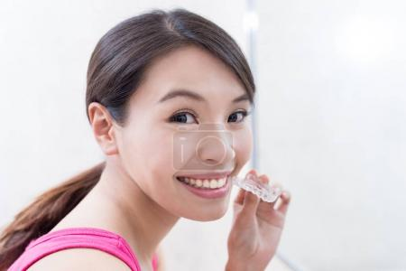 beautiful  woman  with invisible braces