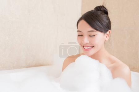 beautiful  woman taking bath