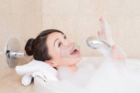 woman taking  the bath