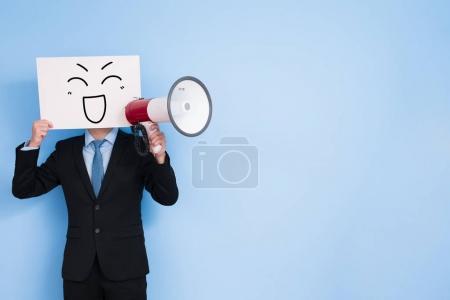 businessman take microphone