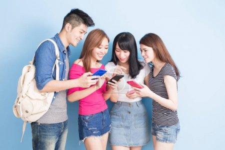 students using  smartphones