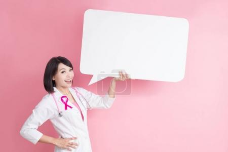 woman doctor with  speech bublle