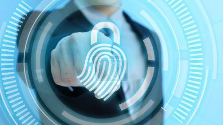 man touching  fingerprint icon