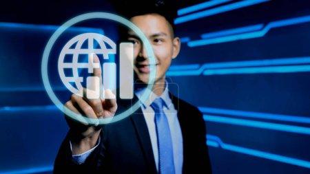 businessman touching  icon