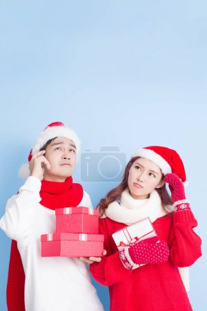 couple with  presents  on christmas