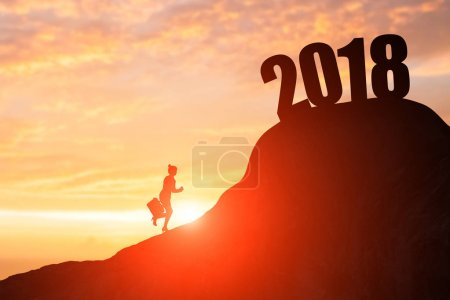 silhouette of businesswoman climbing  on the moutain with 2018 year