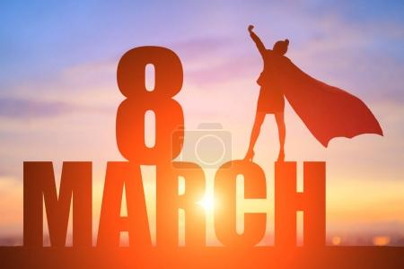 super business hero with 8 March  concept