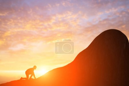 silhouette of business man running  on the mountain