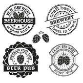 Vintage brewery logo emblems and badges set Collection of vintage brewing company labels Vector illustration