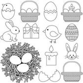 Line art black and white easter icon set 13 elements