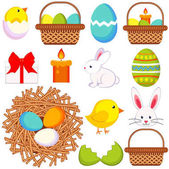 Cartoon easter icon set 13 elements