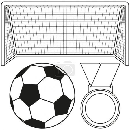 Black and white soccer ball, gate, medal icon set.