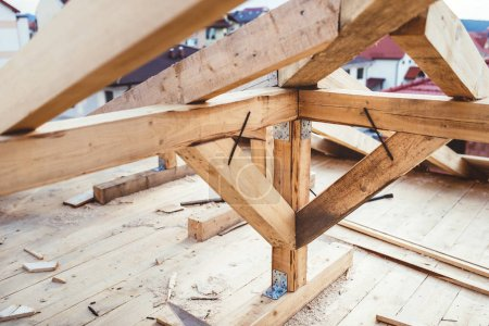 Details of construction site - roof building with timber