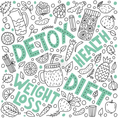 Illustration for Detox concept. Vector lettering with doodle illustrations - Royalty Free Image