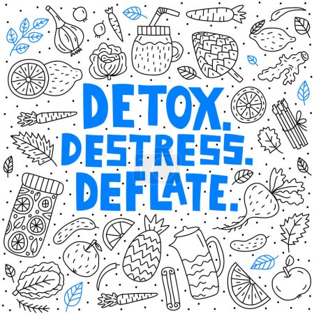 Illustration for Detox. Destress. Deflate. Vector lettering with doodle illustrations - Royalty Free Image