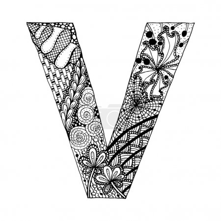 Illustration for Zentangle stylized alphabet. Letter V in doodle style. Hand drawn sketch font, vector illustration for coloring page, tattoos, makhendas or decoration. - Royalty Free Image