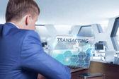Obchod, technologie, Internet a sítě koncept. Obchodní muž