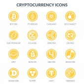 Cryptocurrency icons isolated on white backgroundMoney of the future
