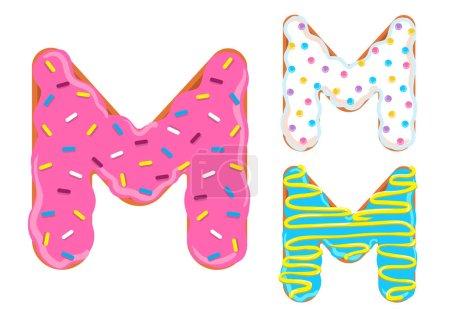 Photo pour Sweet donut font vecteur. Lettre M - image libre de droit