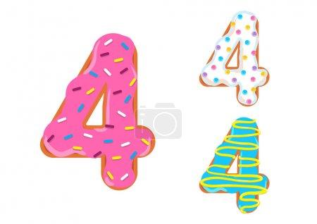 Photo pour Sweet donut font vecteur. Numéro 4 - image libre de droit