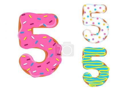 Photo pour Sweet donut font vecteur. Numéro 5 - image libre de droit