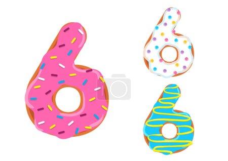 Photo pour Sweet donut font vecteur. Numéro 6 - image libre de droit