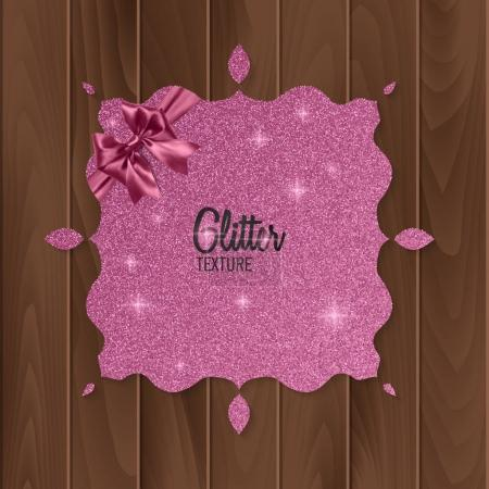 Pink, glitter background with realistic bow. greeting card. Vector illustration
