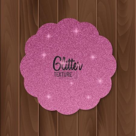 Greeting card with pink glitter background. Vector illustration