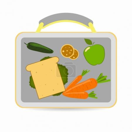 Illustration for Lunchbox with school lunch sandwich, carrots, apple, cucumber cookies Vector illustration - Royalty Free Image