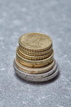 Pile of euro coins close-up