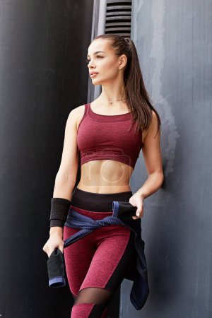 Fitness sporty woman during outdoor exercises workout. Beautiful fit Girl. Fitness model outdoors. Weight Loss. Healthy lifestyle. Sporty healthy female.