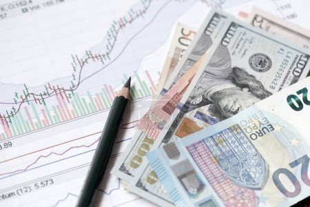Financial concept. Money close-up with graphics and diagrams. Dollars and Euro banknotes.