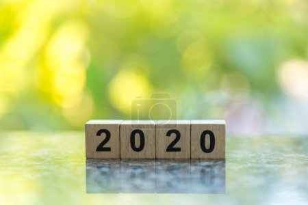 2020 New Year Concept.  Close up of wooden number ...