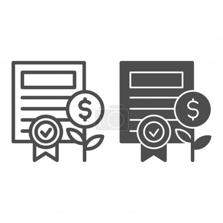Property certificate line and solid icon. Share document and coin plant with award symbol, outline style pictogram on white background. Business sign for mobile concept or web design. Vector graphics.