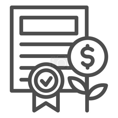 Property certificate line icon. Share document and coin plant with award symbol, outline style pictogram on white background. Business sign for mobile concept or web design. Vector graphics