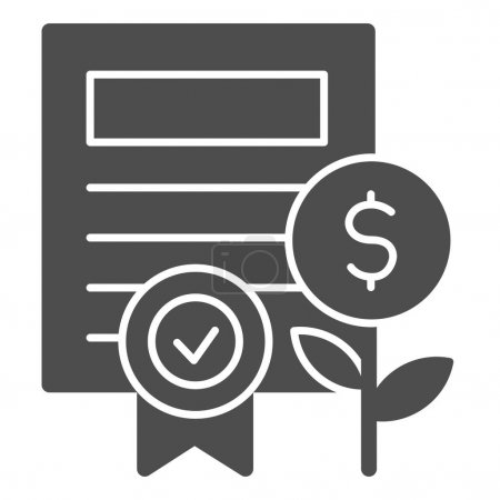 Property certificate solid icon. Share document and coin plant with award symbol, glyph style pictogram on white background. Business sign for mobile concept or web design. Vector graphics