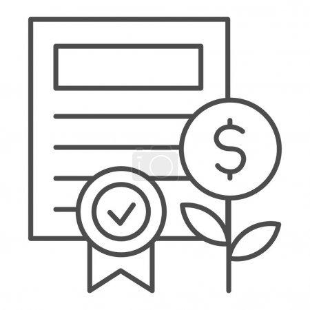 Property certificate thin line icon. Share document and coin plant with award symbol, outline style pictogram on white background. Business sign for mobile concept or web design. Vector graphics.