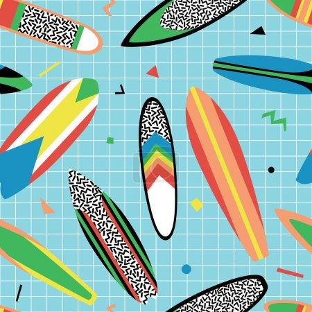 Seamless pattern with vintage surfboards