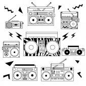 Set of various vintage cassette players