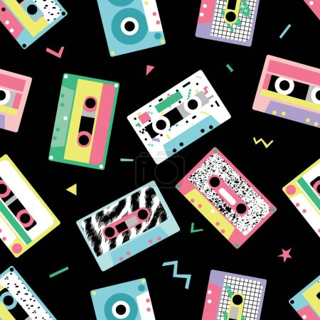 Seamless pattern with audio tapes