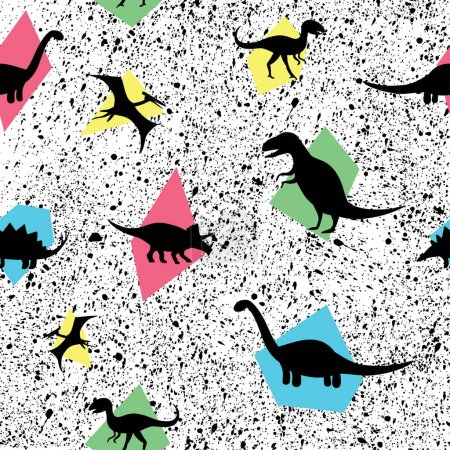 seamless pattern with cute dinosaurs