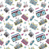 Seamless pattern with vintage cassette players