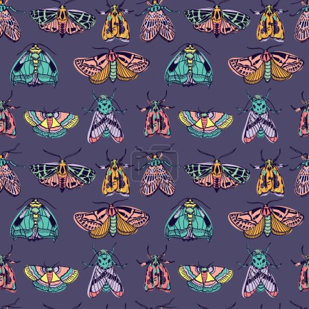 Seamless pattern with moths, vector illustration...