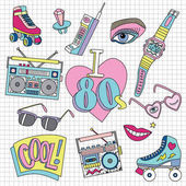 Set of patch badges in 80s style vector illustration