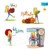 Adorable girl in different situations in fall