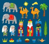 Three Wise kings bring gifts to Jesus on Christmas. Set of Christmas scene elements.